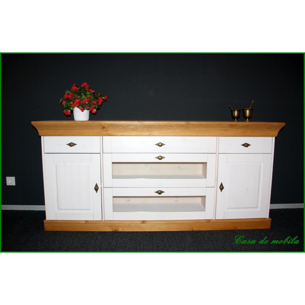 landhaus anrichte sideboard kommode weiss gebeizt ge lt. Black Bedroom Furniture Sets. Home Design Ideas