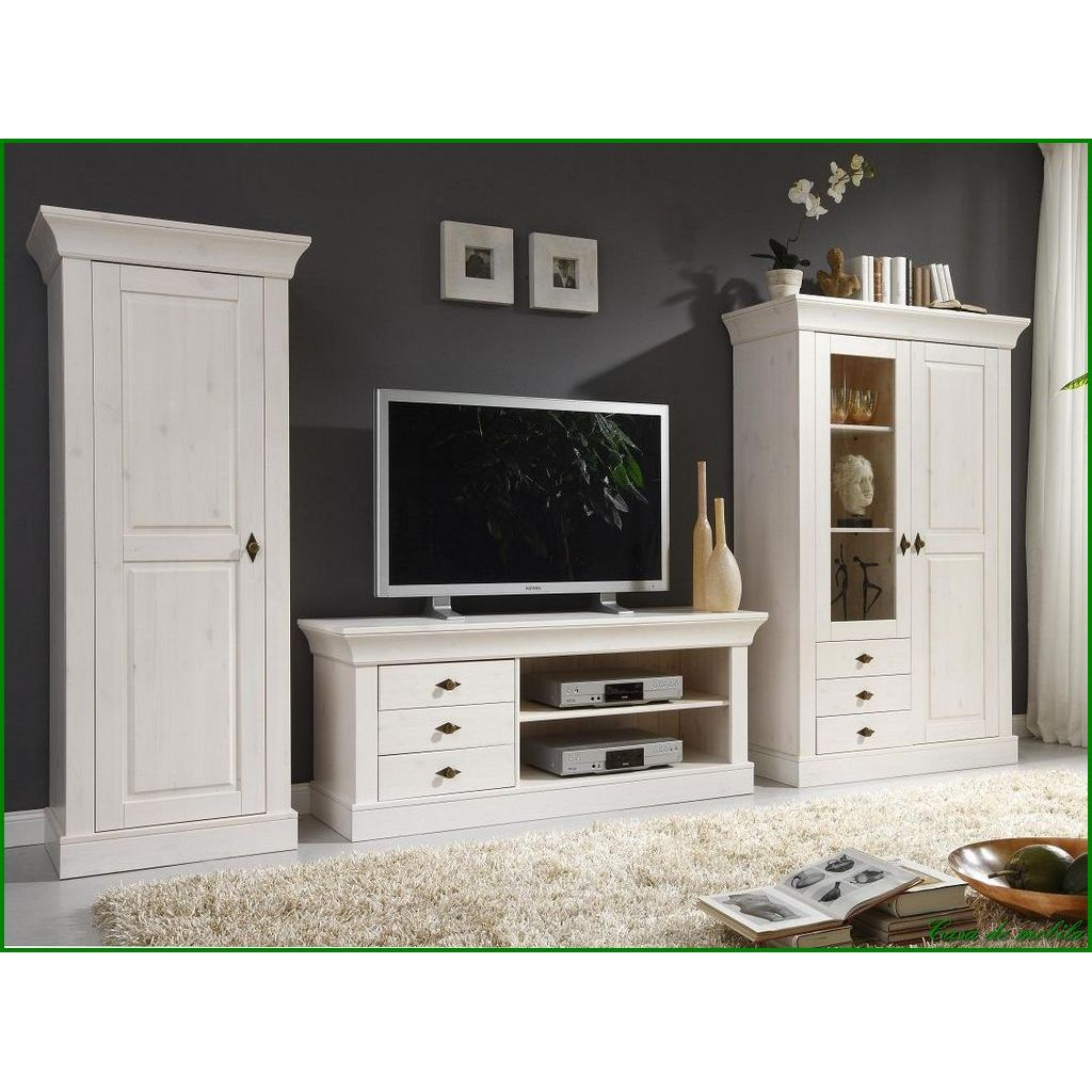 landhaus tv lowboard kiefer massiv weiss lackiert bergen bei casa de mobila. Black Bedroom Furniture Sets. Home Design Ideas