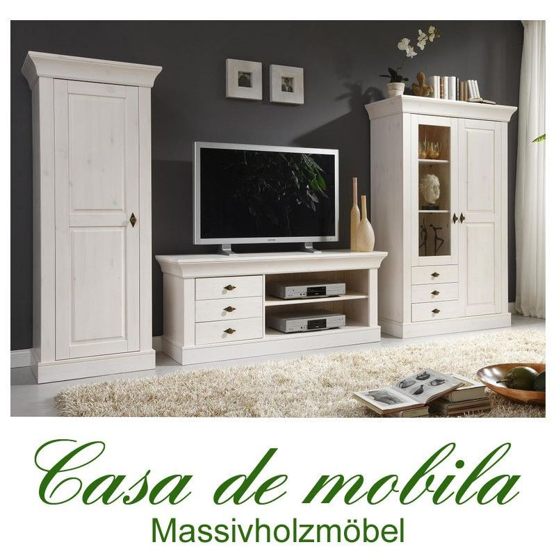 landhaus wohnwand kiefer massiv wei lackiert bergen bei casa de mobila. Black Bedroom Furniture Sets. Home Design Ideas