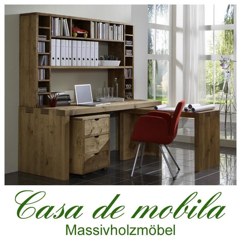 Schreibtisch-Kombination groß Malmoe - Kiefer massiv gebeizt gewachst
