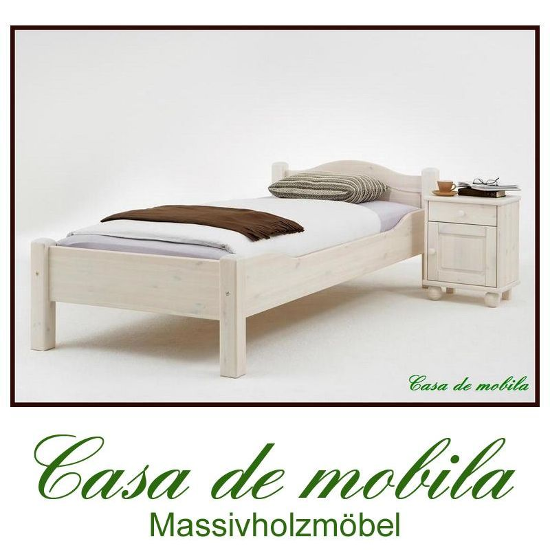 einzelbett bettgestell weiss lasiert kiefer massiv 100x200 roja. Black Bedroom Furniture Sets. Home Design Ideas