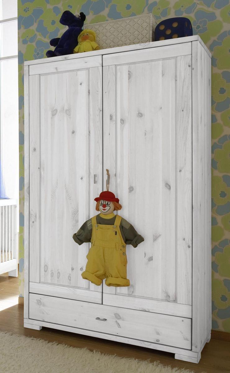 Kinderzimmerschrank weiß  Vollholz Babyschrank Kleiderschrank 2-türig Kiefer massiv weiss ...