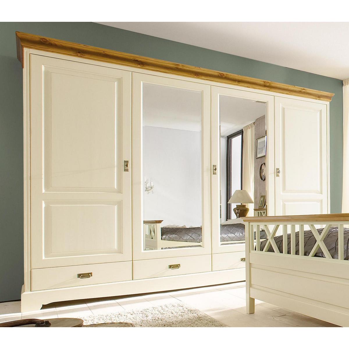 Kleiderschrank 4 t rig mit spiegel paris kiefer massiv 2 - Schlafzimmerschrank mit spiegel ...