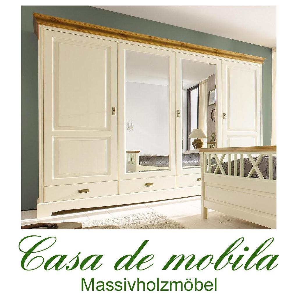 kleiderschrank 4 t rig mit spiegel paris kiefer massiv 2 farbig goldbraun champagner lackiert. Black Bedroom Furniture Sets. Home Design Ideas