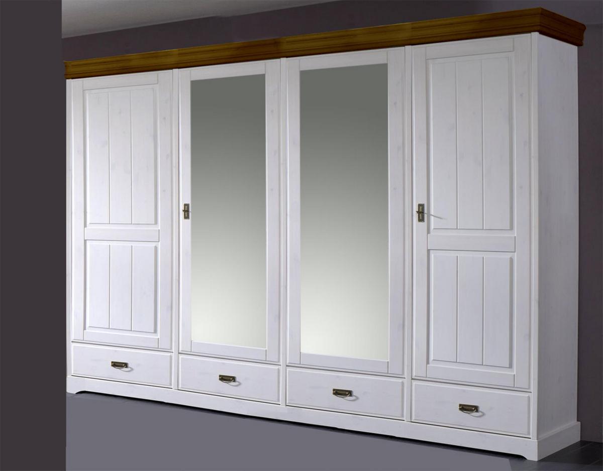 landhaus kleiderschrank mit spiegel kiefer neapel 4 t rig wei gewachst absetzungen honig. Black Bedroom Furniture Sets. Home Design Ideas