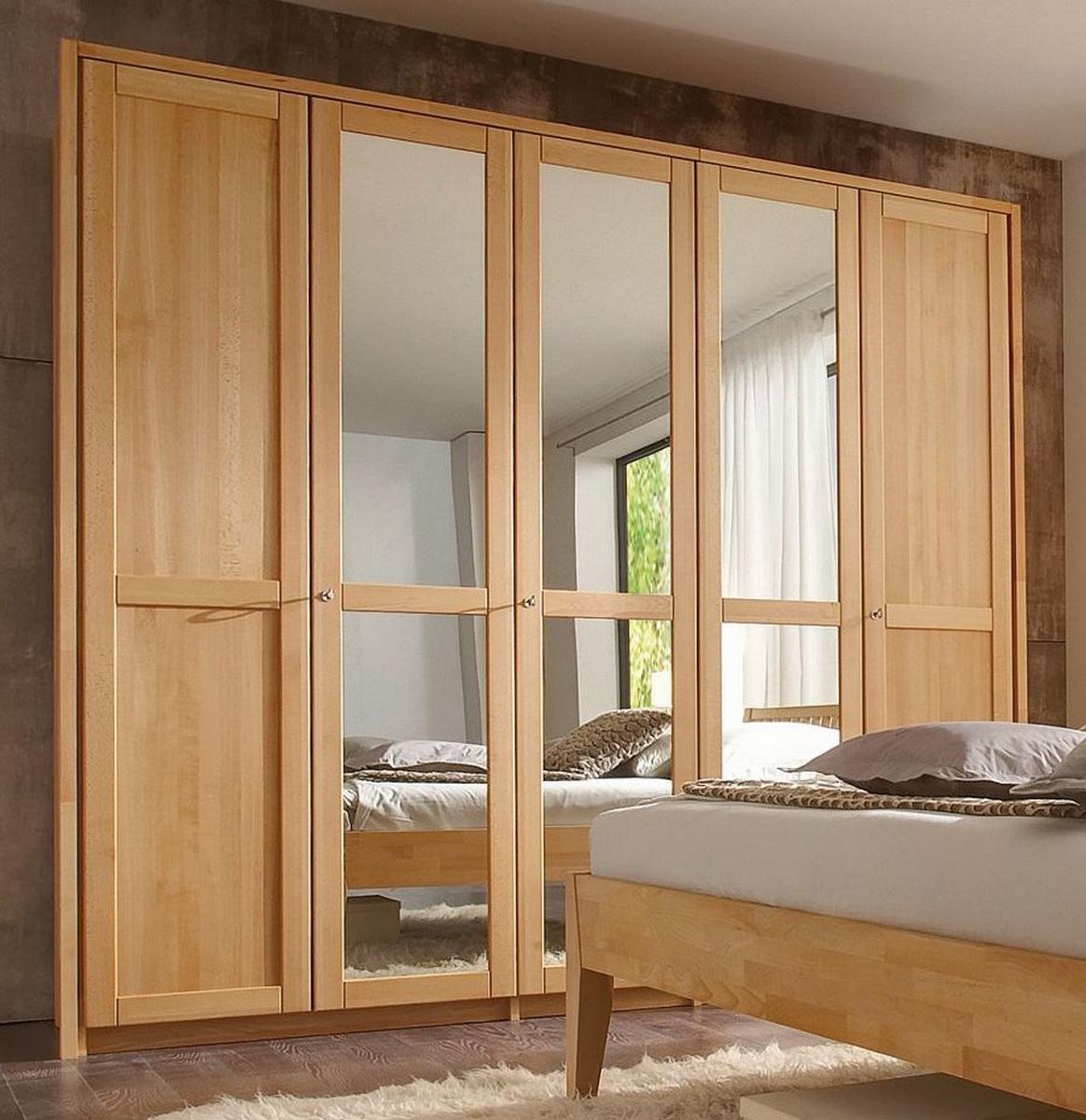 echtholz kleiderschrank mit spiegel buche massiv ge lt front2 5 t rig mit 3 spiegeln. Black Bedroom Furniture Sets. Home Design Ideas