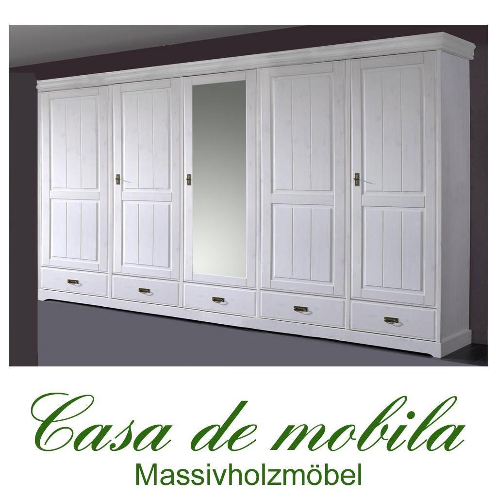 landhaus schlafzimmer kleiderschrank mit spiegel 5-türig weiß holz, Wohnideen design