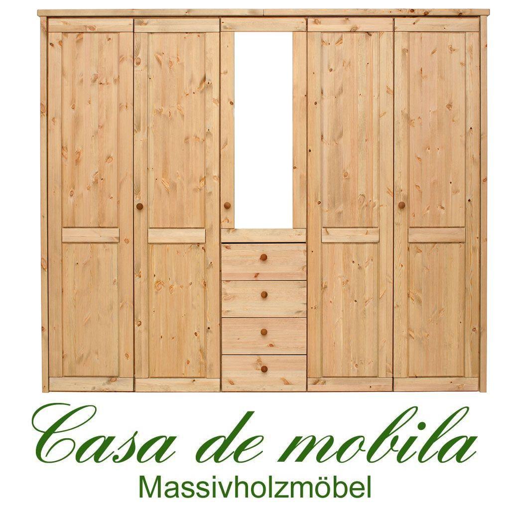 massivholz kleiderschrank kiefer gelaugt ge lt rauna 5 t rig mit spiegel und glatter front. Black Bedroom Furniture Sets. Home Design Ideas