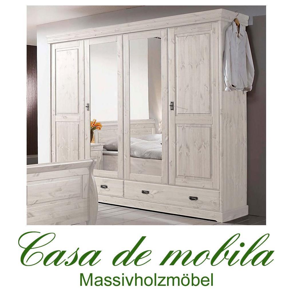 Kleiderschrank weiß landhausstil gebraucht  Massivholz Kleiderschrank Kiefer massiv ROLAND II - 4-türig, weiß ...