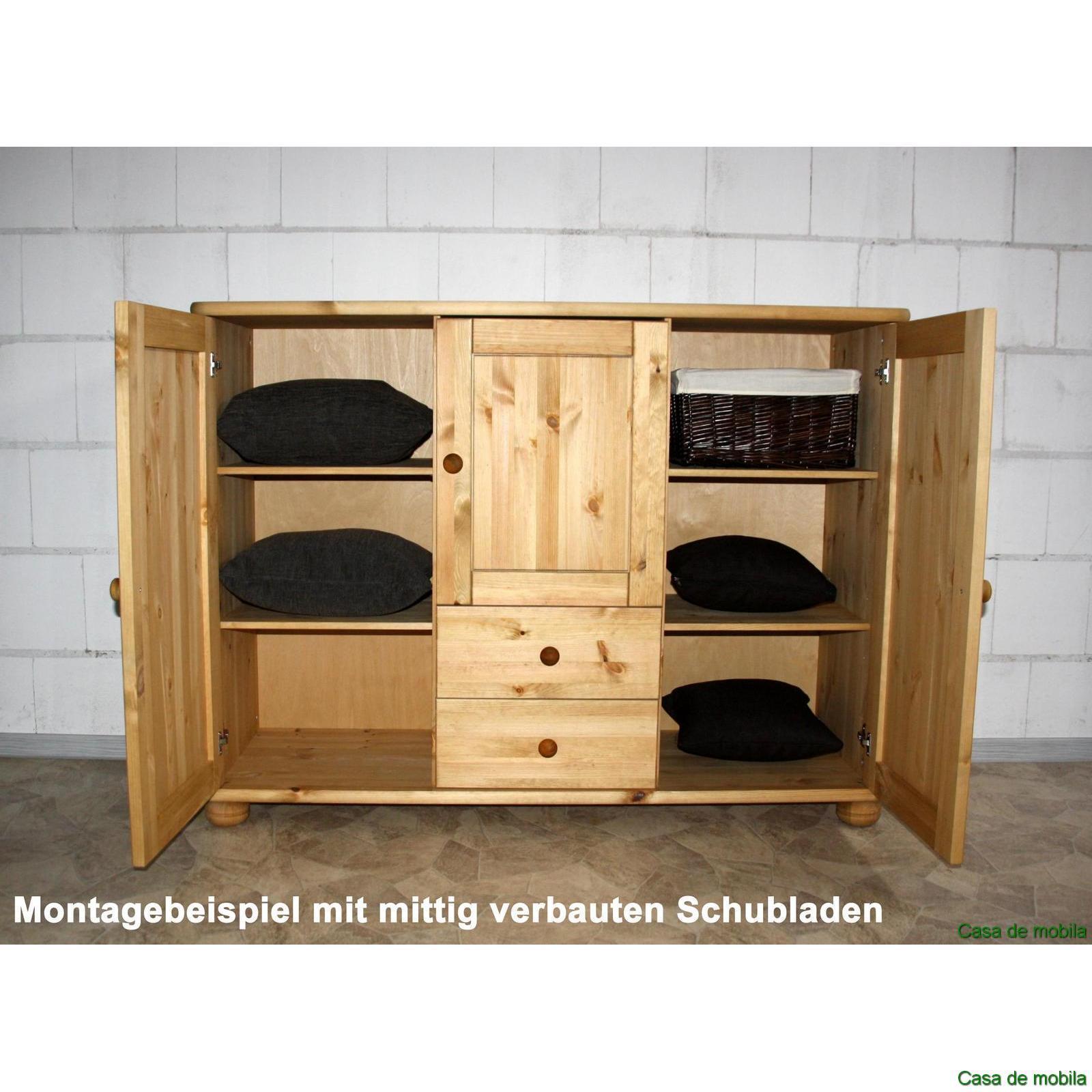 Kommode Kiefer Massiv Natur Lackiert : Massivholz Anrichte Kiefer massiv 2-farbig provance lackiert / weiß ...