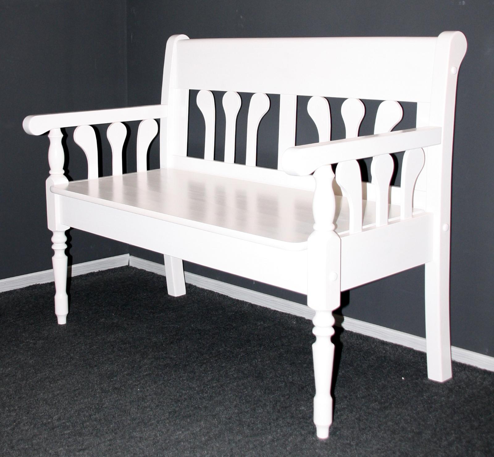 massivholz sitzbank kiefer massiv wei lasiert landhaus. Black Bedroom Furniture Sets. Home Design Ideas