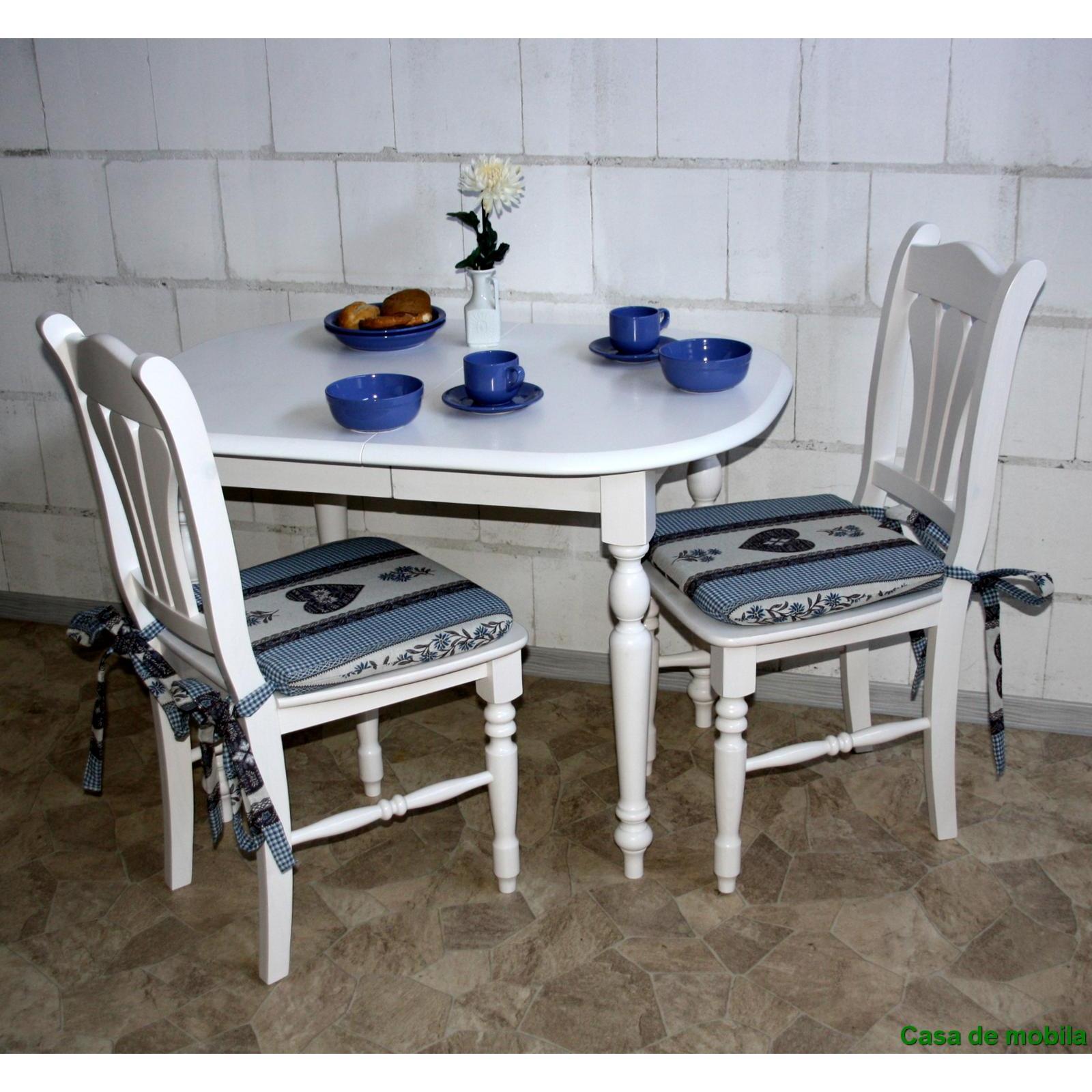 massivholz sitzgruppe massiv wei lasiert landhaus tisch mit 2 st hlen. Black Bedroom Furniture Sets. Home Design Ideas