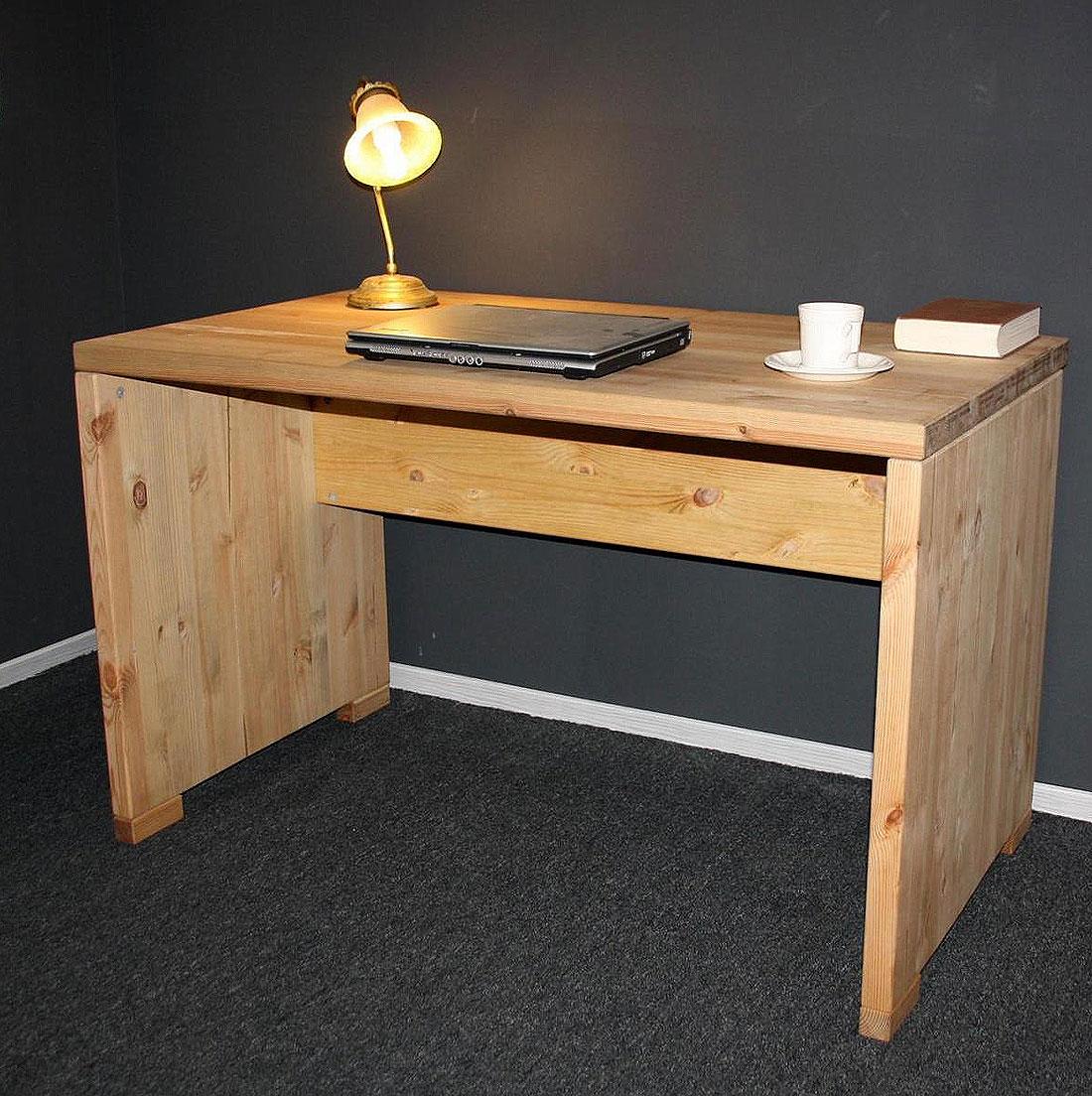 Schreibtisch kiefer massiv gelaugt ge lt mit rollcontainer for Schreibtisch kiefer nachbildung