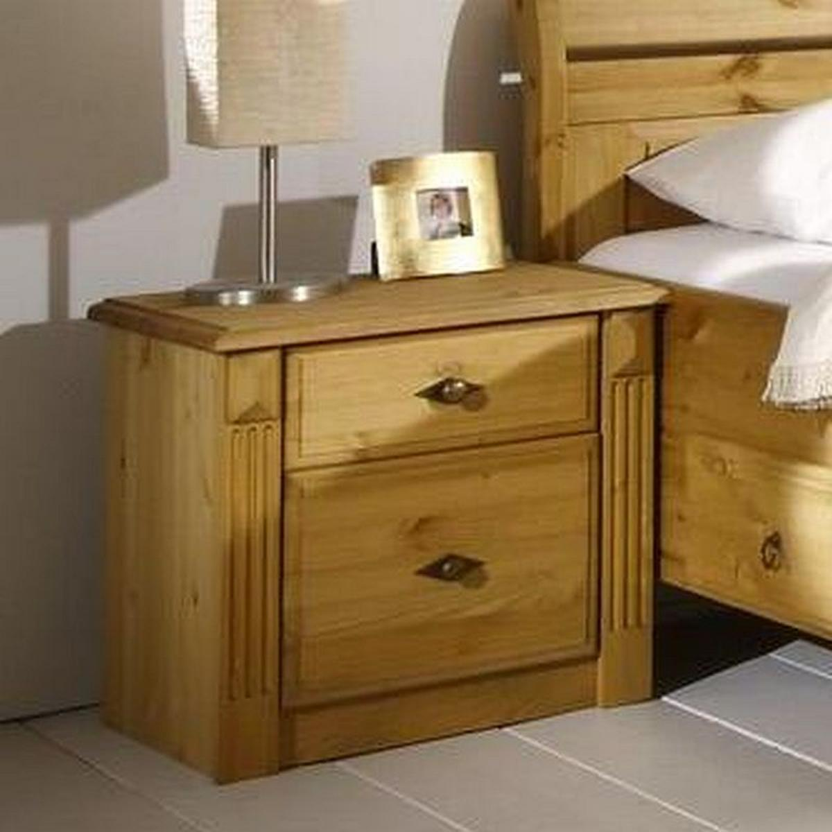 massivholz nachtkommode dora kiefer massiv gebeizt ge lt. Black Bedroom Furniture Sets. Home Design Ideas