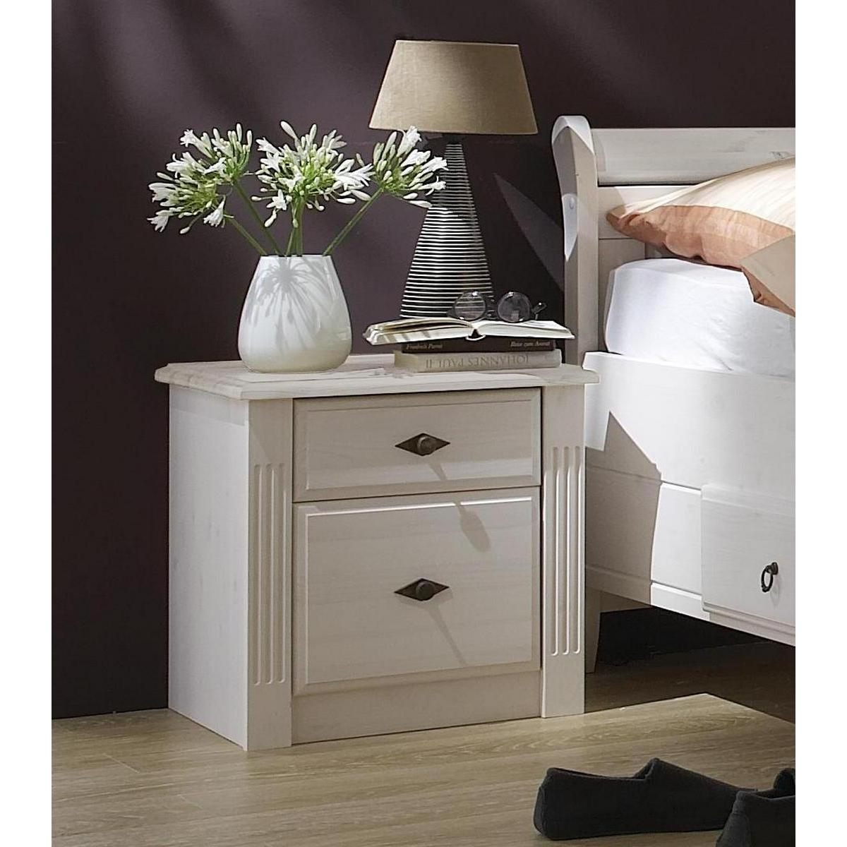 massivholz nachtkommode eva kiefer massiv wei lackiert. Black Bedroom Furniture Sets. Home Design Ideas