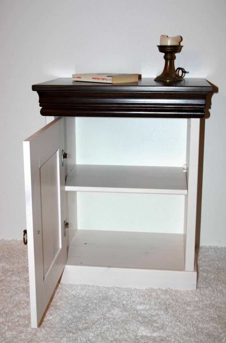 nachttisch nachtschrank nachtkonsole wei braun kolonial. Black Bedroom Furniture Sets. Home Design Ideas