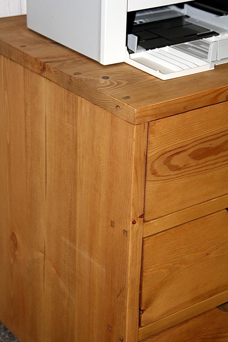 Rollcontainer Büroschrank holz Kiefer massiv gebeizt gewachst