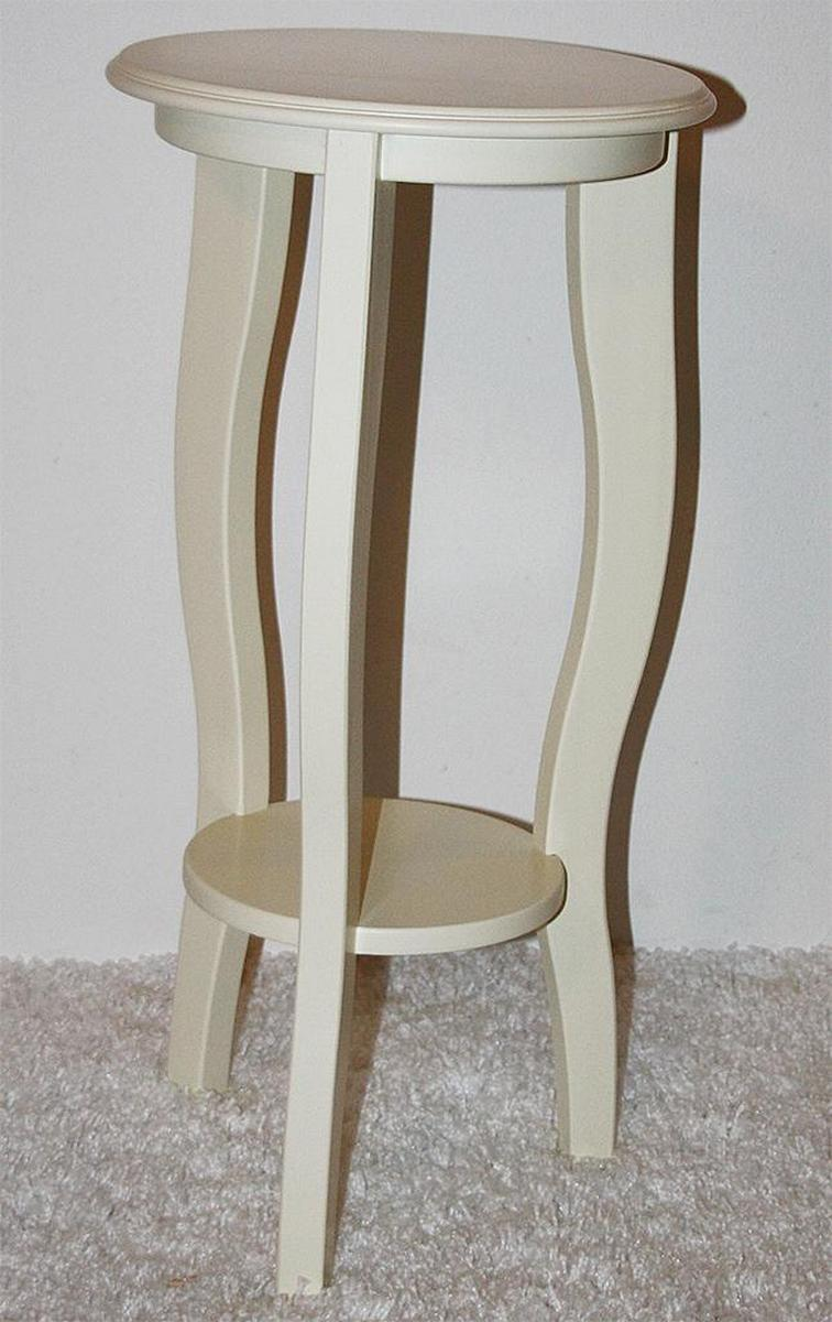 blumenhocker blumentische rund 60 cm cremewei holz massiv. Black Bedroom Furniture Sets. Home Design Ideas