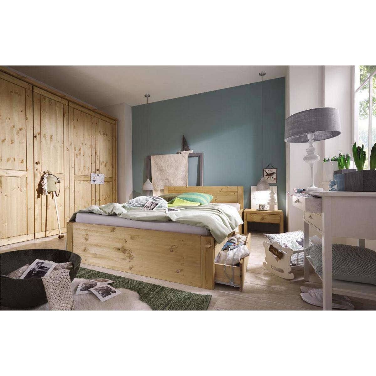 vollholz schubladenbett schubkastenbett funktionsbett 100x200 rauna xl kiefer massiv gebeizt ge lt. Black Bedroom Furniture Sets. Home Design Ideas