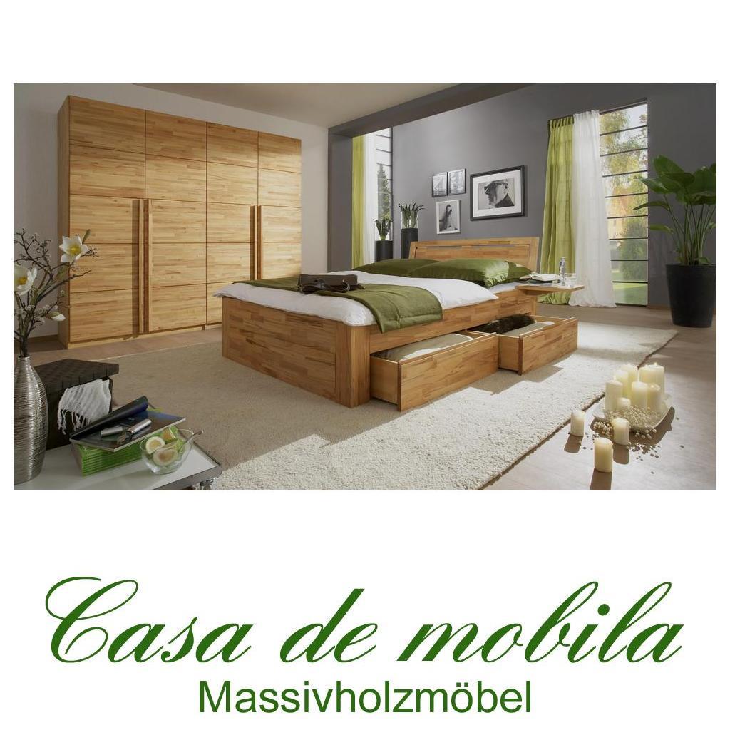 Schlafzimmer komplett Kernbuche / Buche massiv CARO - mit Schubladen ...
