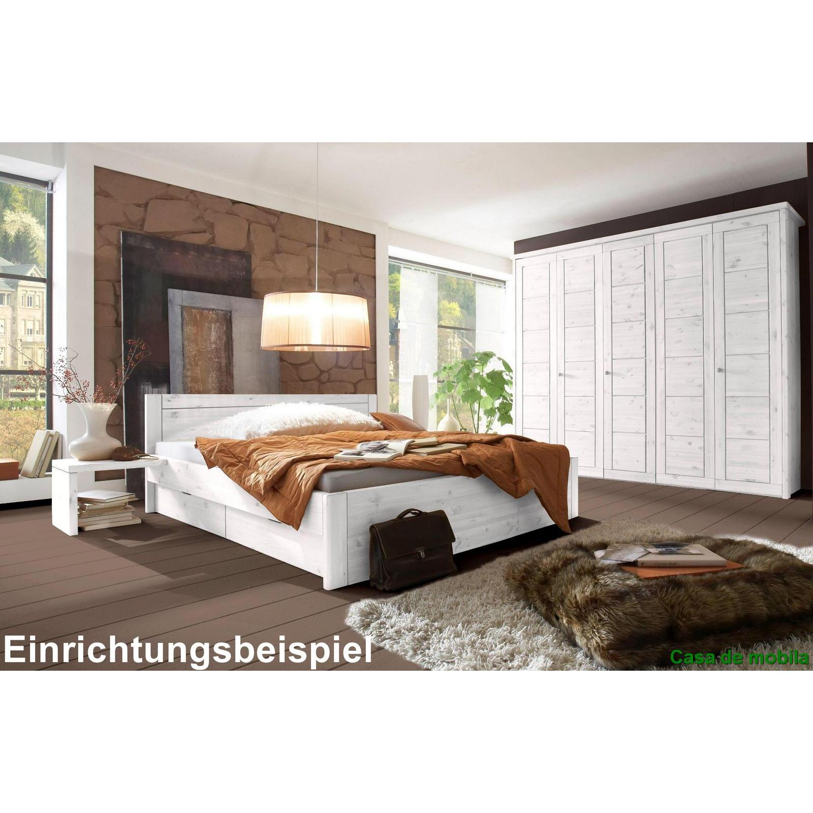 massivholz kleiderschrank kiefer wei lasiert rauna 6 t rig mit spiegelt ren und kasetten front. Black Bedroom Furniture Sets. Home Design Ideas