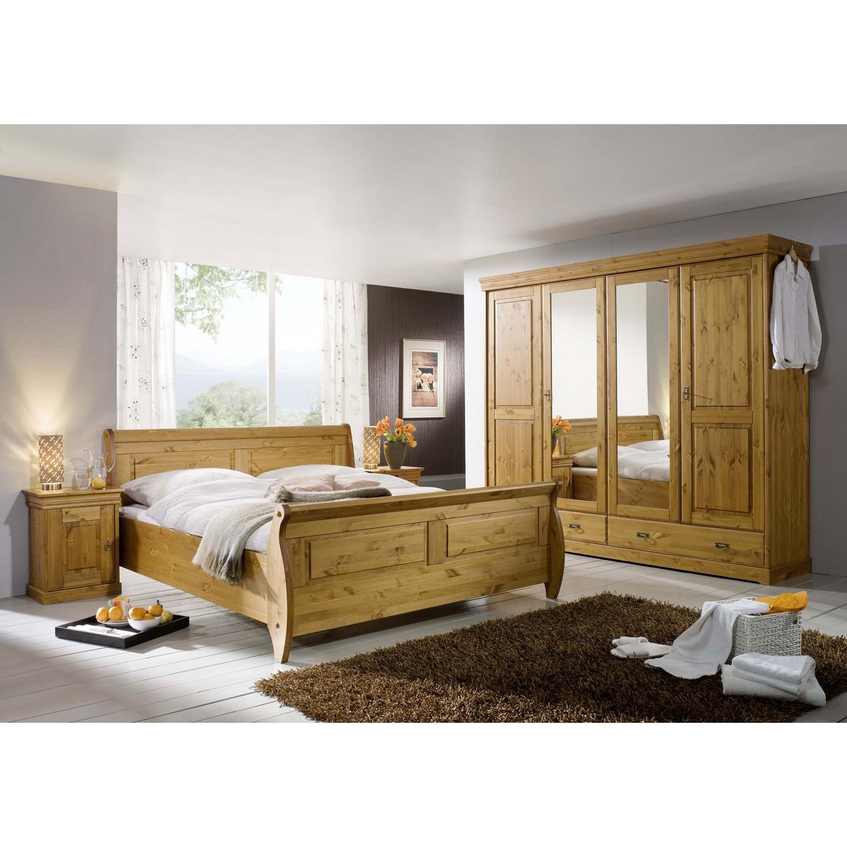 schlafzimmer roland ii kiefer massiv honigfarben lackiert. Black Bedroom Furniture Sets. Home Design Ideas