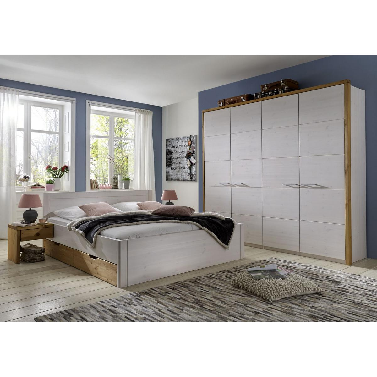 bett mit schubladen 100x200 rauna xl holz kiefer massiv 2 farbig wei gelaugt. Black Bedroom Furniture Sets. Home Design Ideas