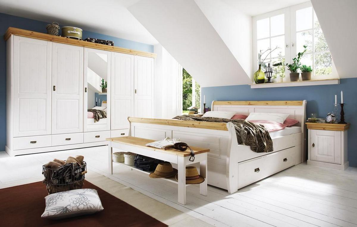 komplettes schlafzimmer weiss gelaugt 4 teilig komplett holz kiefer neapel. Black Bedroom Furniture Sets. Home Design Ideas