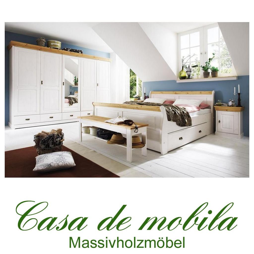 komplettes schlafzimmer weiss gelaugt 4 teilig komplett holz kiefer neapel. Black Bedroom Furniture Sets. Home Design Ideas
