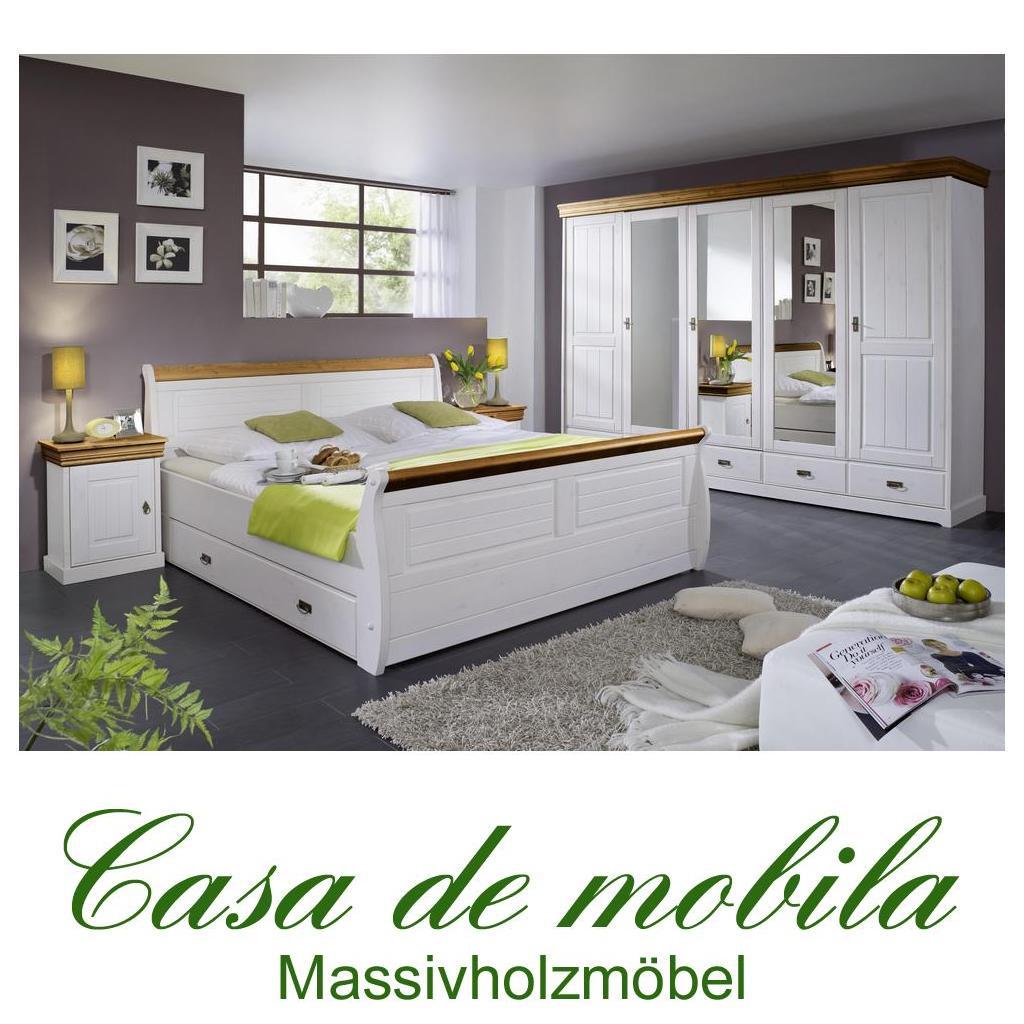 Komplettes Schlafzimmer Weiss Honig 4-teilig komplett holz Kiefer NEAPEL