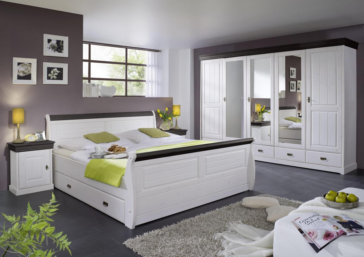 komplettes schlafzimmer weiss kolonial 4 teilig komplett holz kiefer neapel. Black Bedroom Furniture Sets. Home Design Ideas
