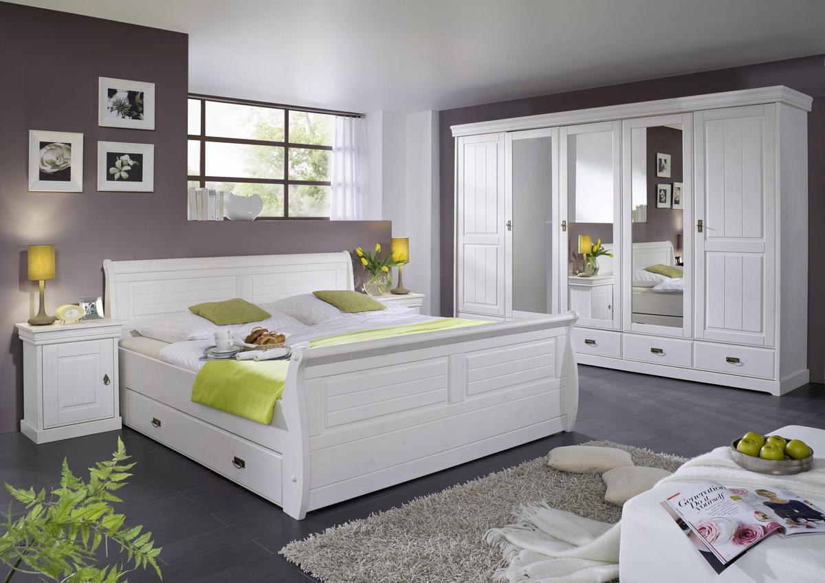 Landhaus Schlafzimmer Kleiderschrank mit Spiegel 5 türig weiß holz