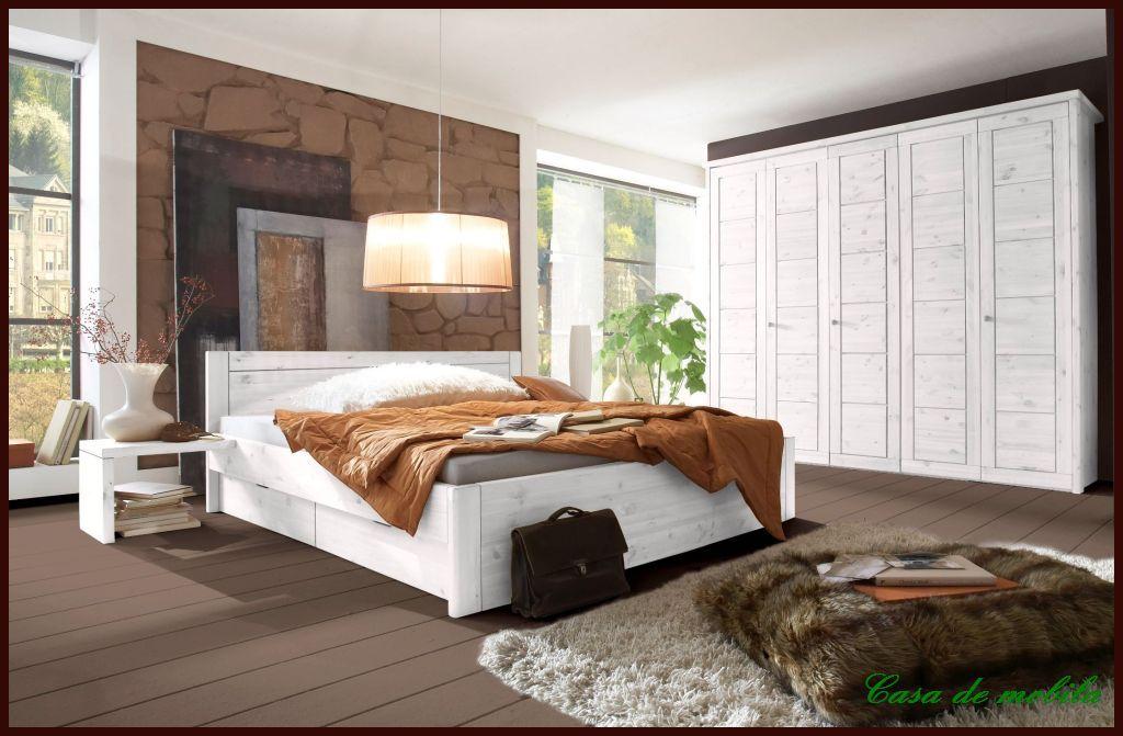 Massivholz Schlafzimmer Kiefer Massiv Weiss Komplett Landhaus  Schlafzimmermöbel Komplett Set Mit Bett 200x200, RAUNA Weiß