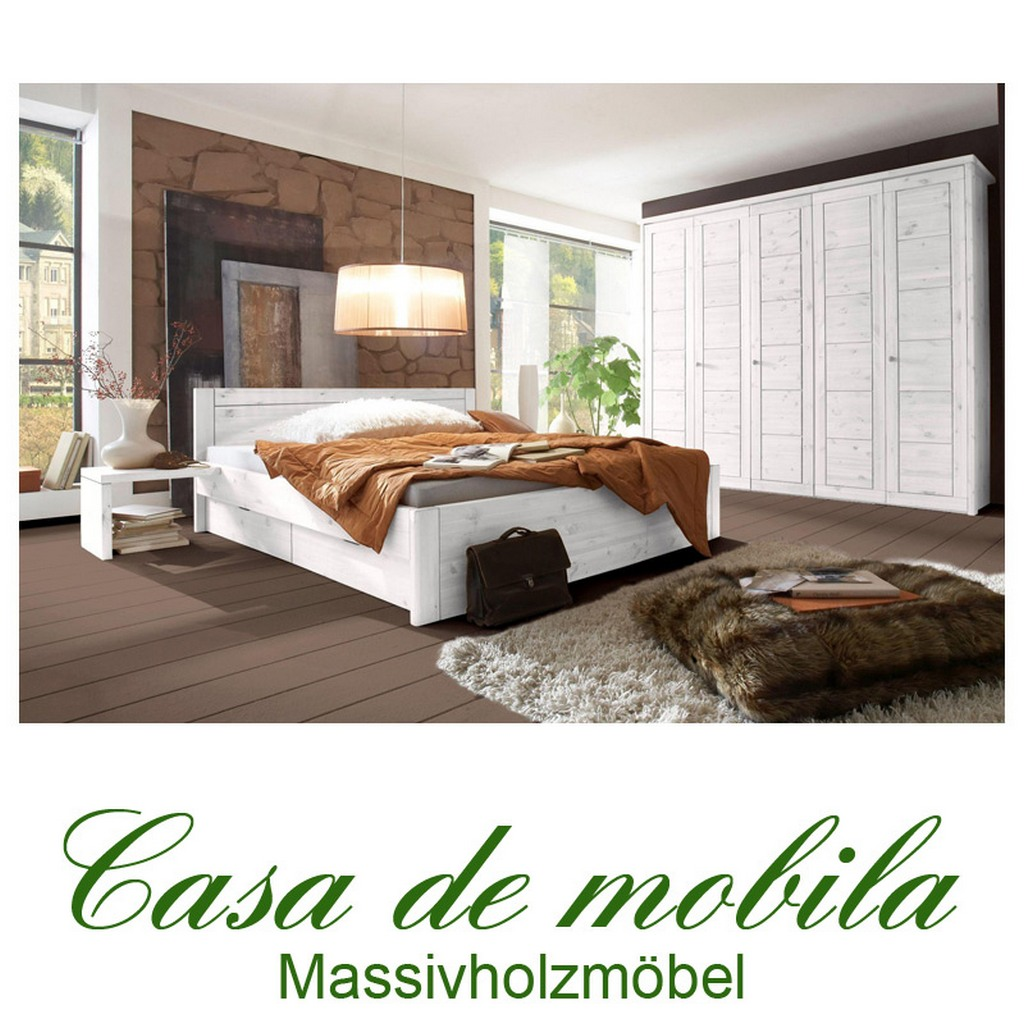 massivholz schlafzimmer rauna komplett kiefer massiv weiss lasiert schubladenbett. Black Bedroom Furniture Sets. Home Design Ideas