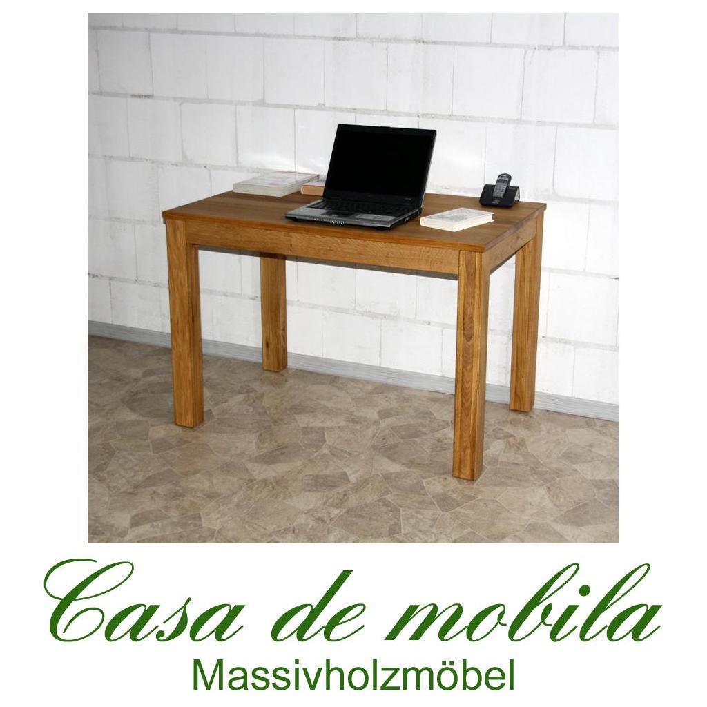 Echtholz pc tisch schreibtisch 110x70 holz wildeiche for Schreibtisch massiv eiche