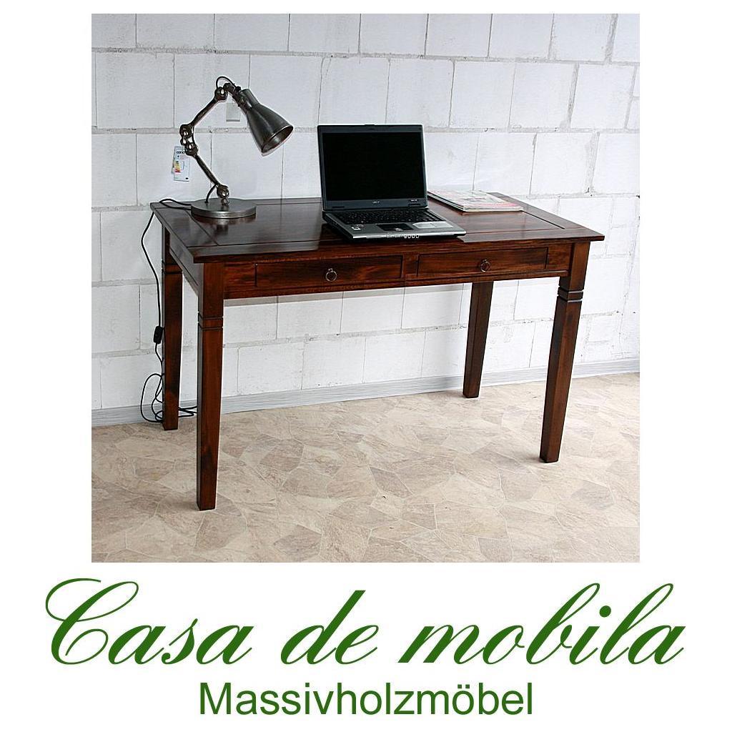 Casa Schreibtisch braun nussbaum Pappel massiv kolonial lackiert