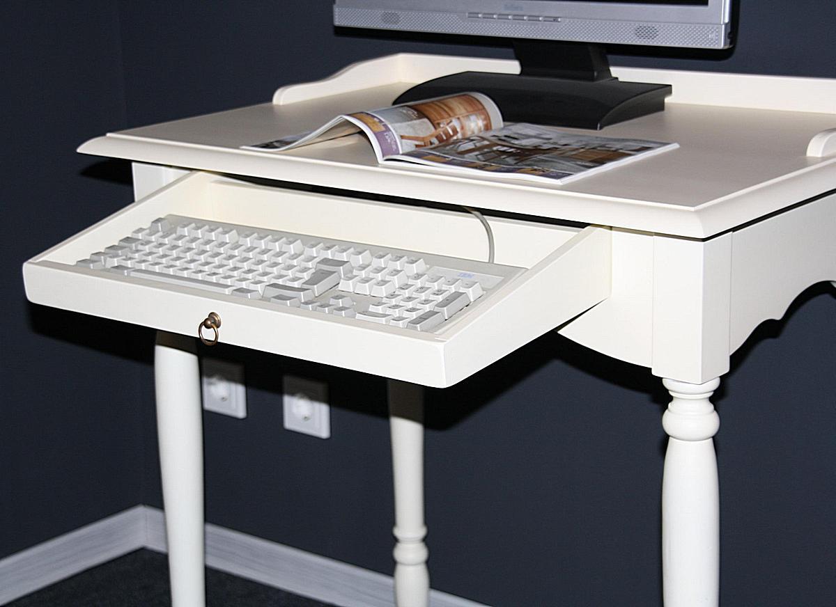 landhaus pc tisch schreibtisch massiv holz cremewei lackiert. Black Bedroom Furniture Sets. Home Design Ideas