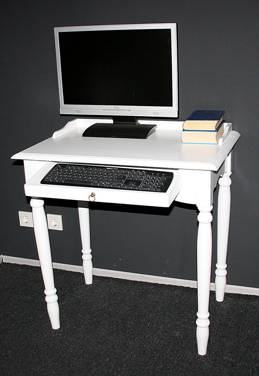 landhaus schreibtisch pc tisch wei lackiert holz massiv. Black Bedroom Furniture Sets. Home Design Ideas