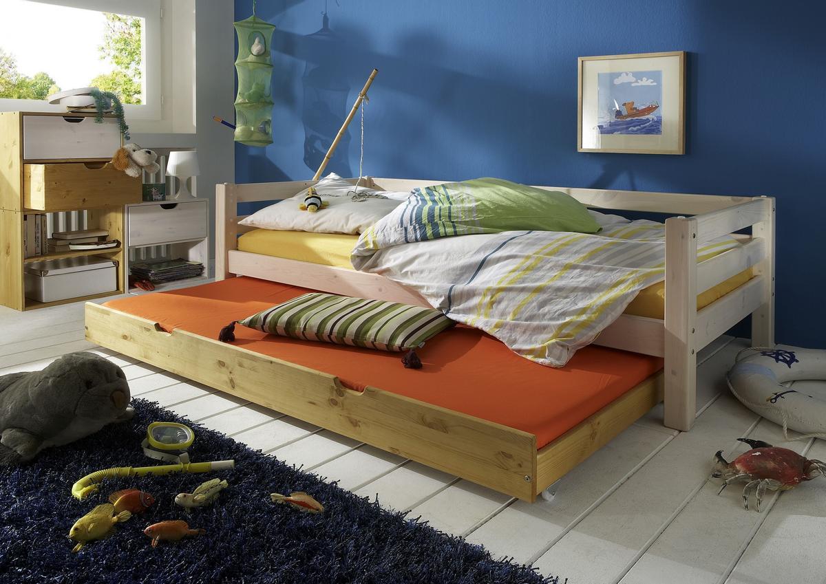 schubladenbett 90x200 mit g stebett kiefer massiv 2 farbig wei lasiert gelaugt ge lt. Black Bedroom Furniture Sets. Home Design Ideas