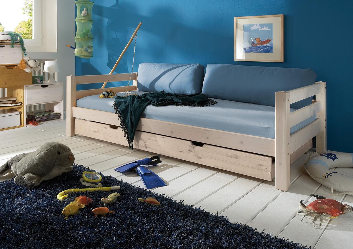 schubladenbett 90x200 mit g stebett kiefer massiv wei lasiert. Black Bedroom Furniture Sets. Home Design Ideas