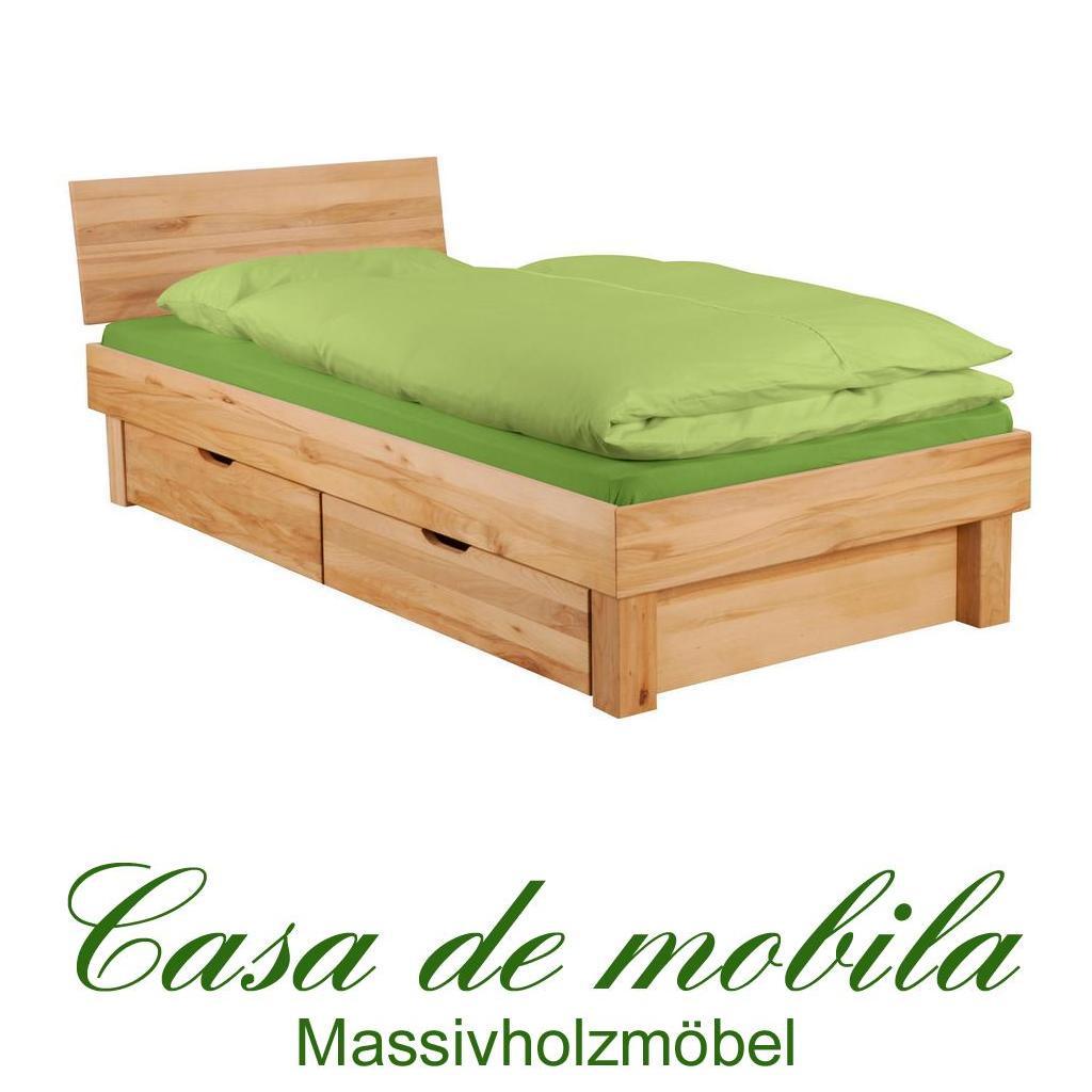 massivholz einzelbett mit schubladen kernbuche massiv ge lt campino schubkastenbett 100x200. Black Bedroom Furniture Sets. Home Design Ideas