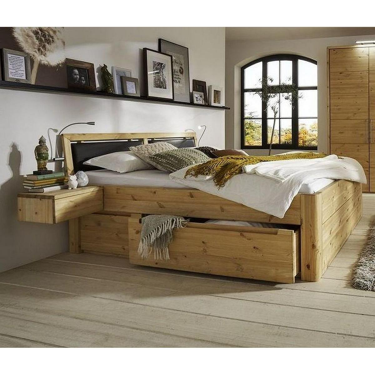 naturholz bett mit schubladen 160x200 komforth he 49 cm kiefer massiv gelaugt ge lt. Black Bedroom Furniture Sets. Home Design Ideas