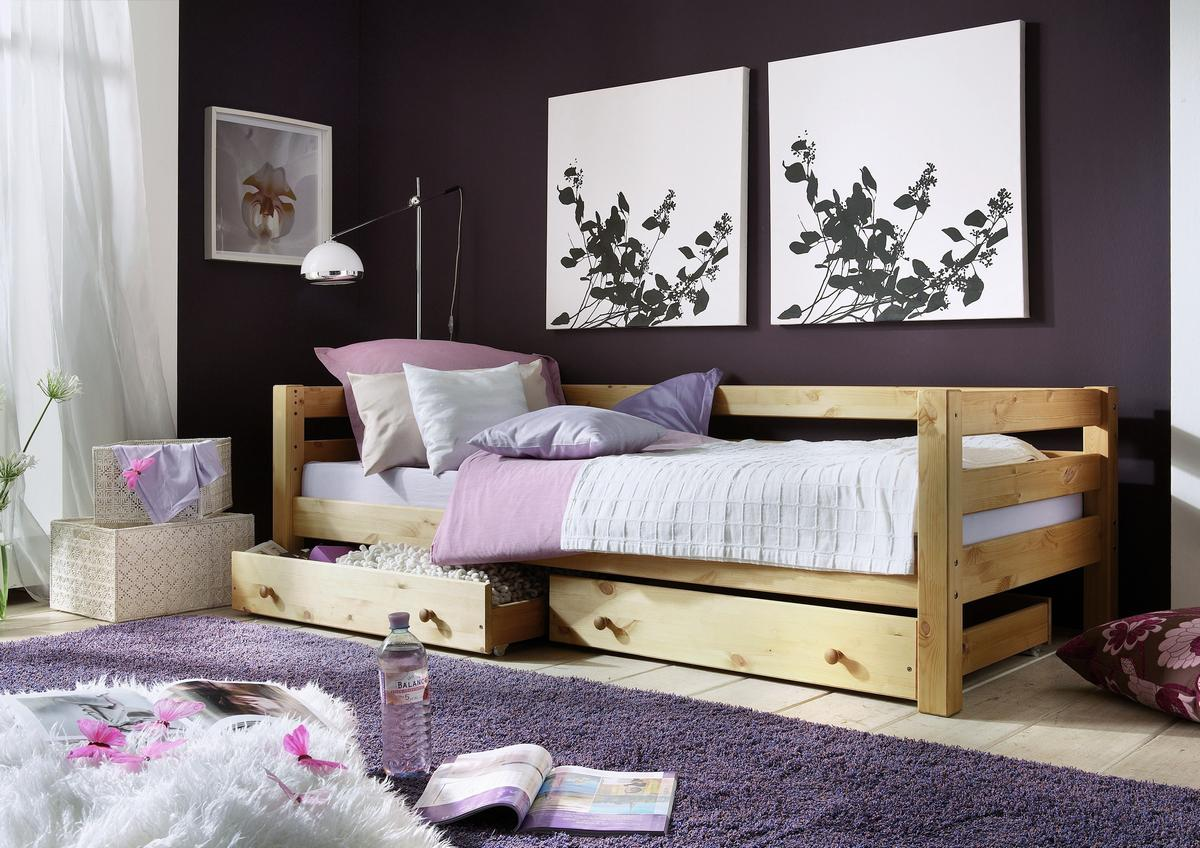 einzelbett 90x200 bett mit schubladen kiefer massiv gelaugt ge lt. Black Bedroom Furniture Sets. Home Design Ideas