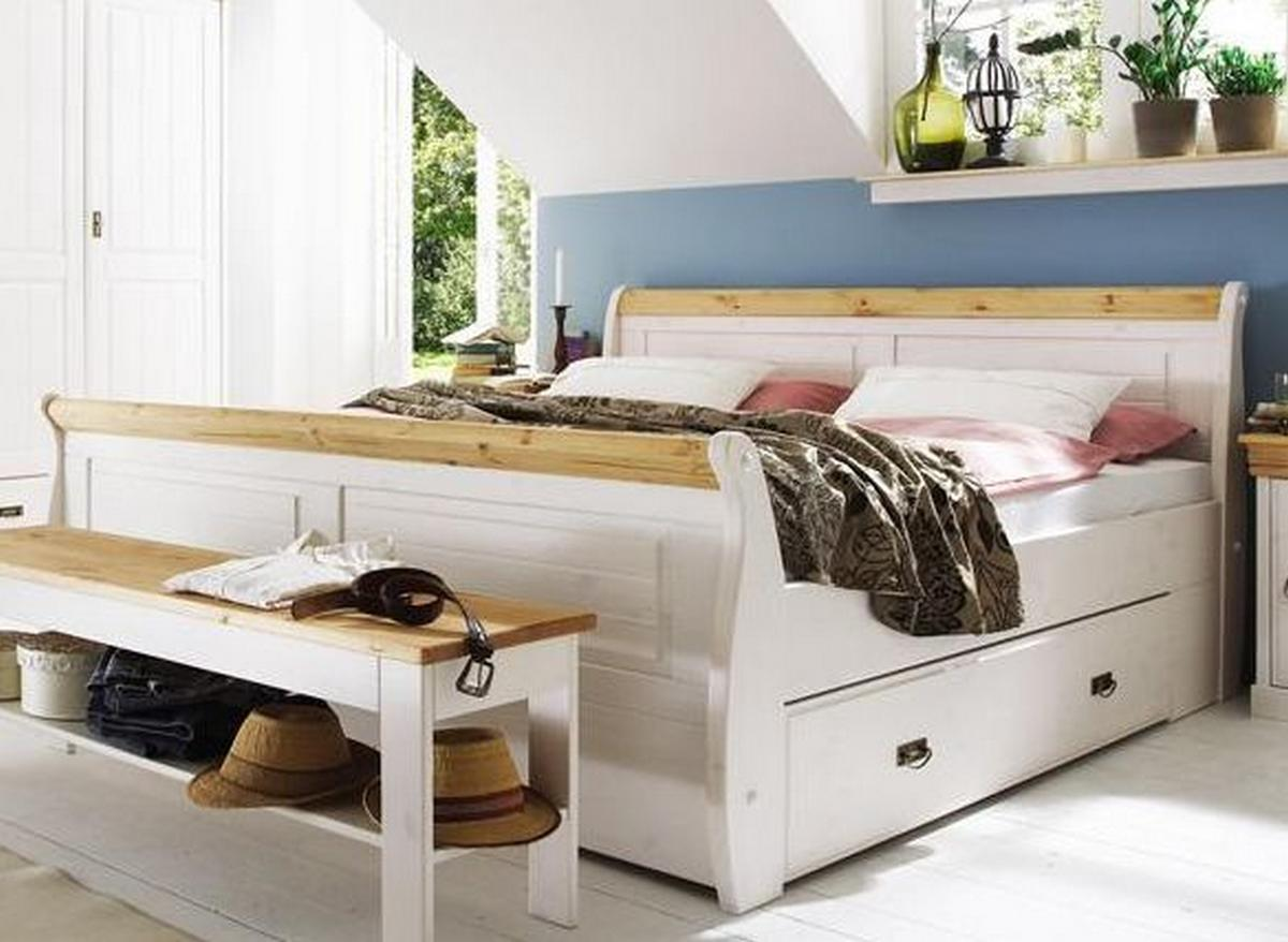 doppelbett mit schubladen bett 180x200 wei gelaugt holz kiefer neapel. Black Bedroom Furniture Sets. Home Design Ideas
