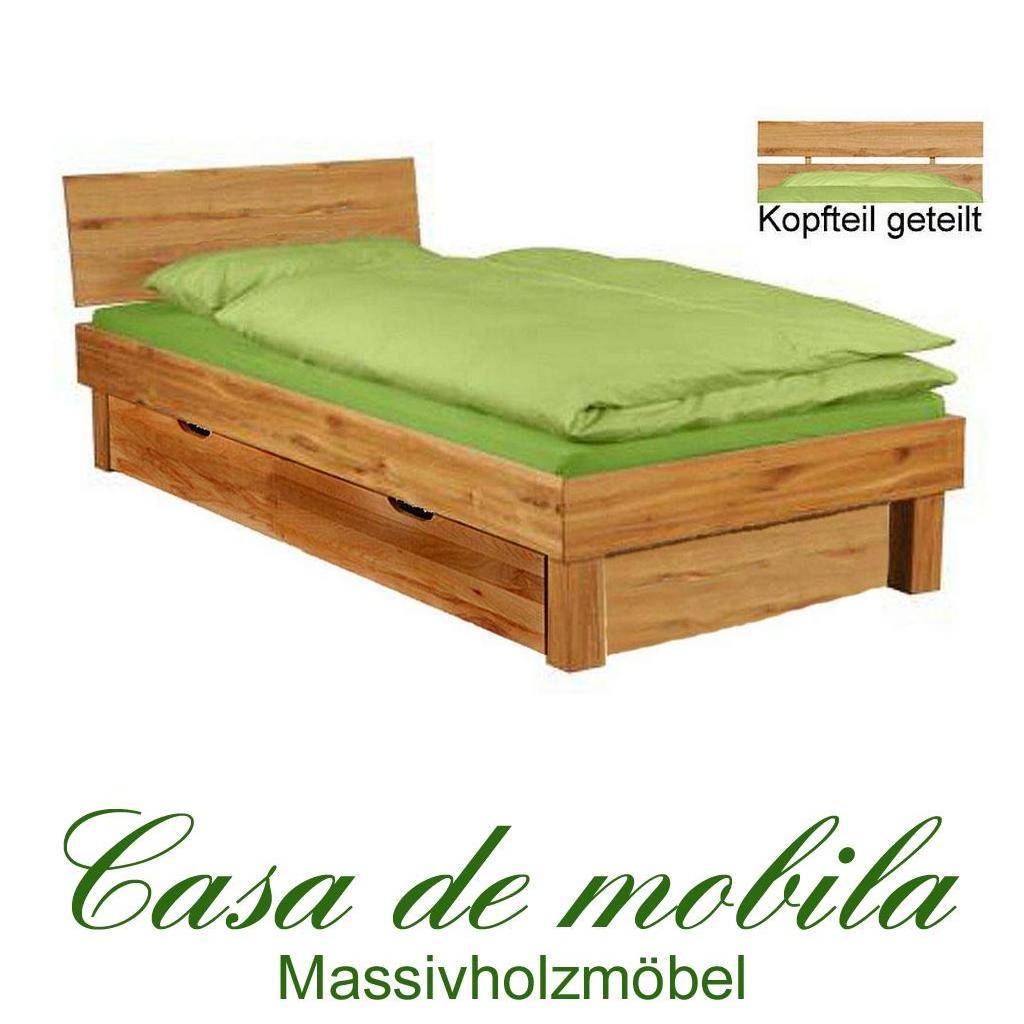 Massivholz Doppelbett Wildeiche CAMPINO - 180x200, 2 Schubladen ...