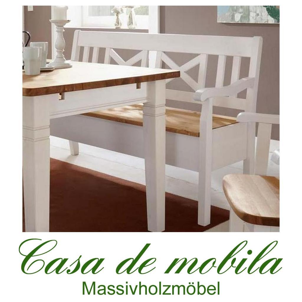 Sitzbank Mit Lehne Küchenbank Kiefer Massiv 2 Farbig Weiß / Gebeizt Fjord  105 Cm