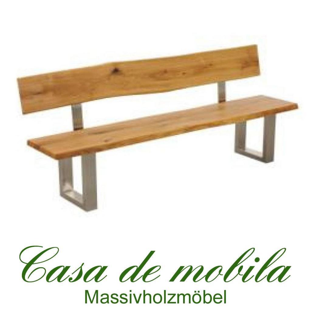 Sitzbank mit Lehne untergestell edelstahl eiche massiv geölt 220 cm