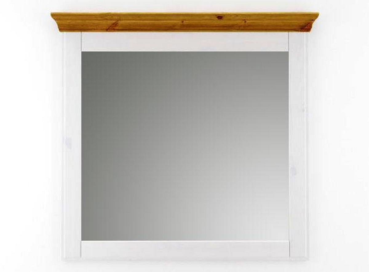 wandspiegel spiegel schlafzimmerspiegel gro e 100x100 wei honig holz kiefer neapel. Black Bedroom Furniture Sets. Home Design Ideas