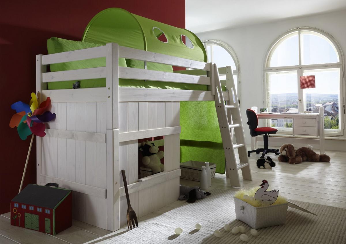 Hochbett Holz Weiß 90x200 : Spielbett hochbett mit vorhang lime kiefer massiv weiß