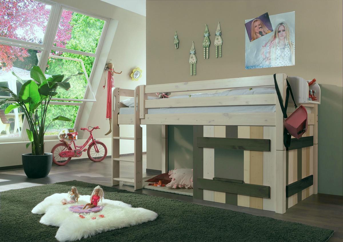 abenteuerbett hochbett 90x200 mit deko element kiefer. Black Bedroom Furniture Sets. Home Design Ideas
